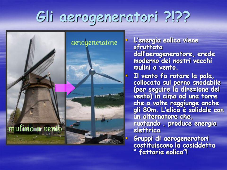 Gli aerogeneratori ?!??  L'energia eolica viene sfruttata dall'aerogeneratore, erede moderno dei nostri vecchi mulini a vento.  Il vento fa rotare l
