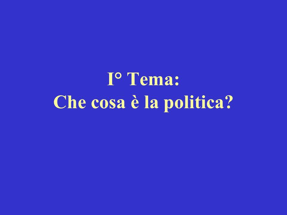 I° Tema: Che cosa è la politica?