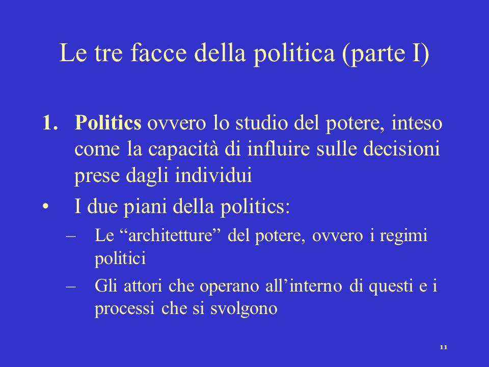 11 Le tre facce della politica (parte I) 1.Politics ovvero lo studio del potere, inteso come la capacità di influire sulle decisioni prese dagli indiv