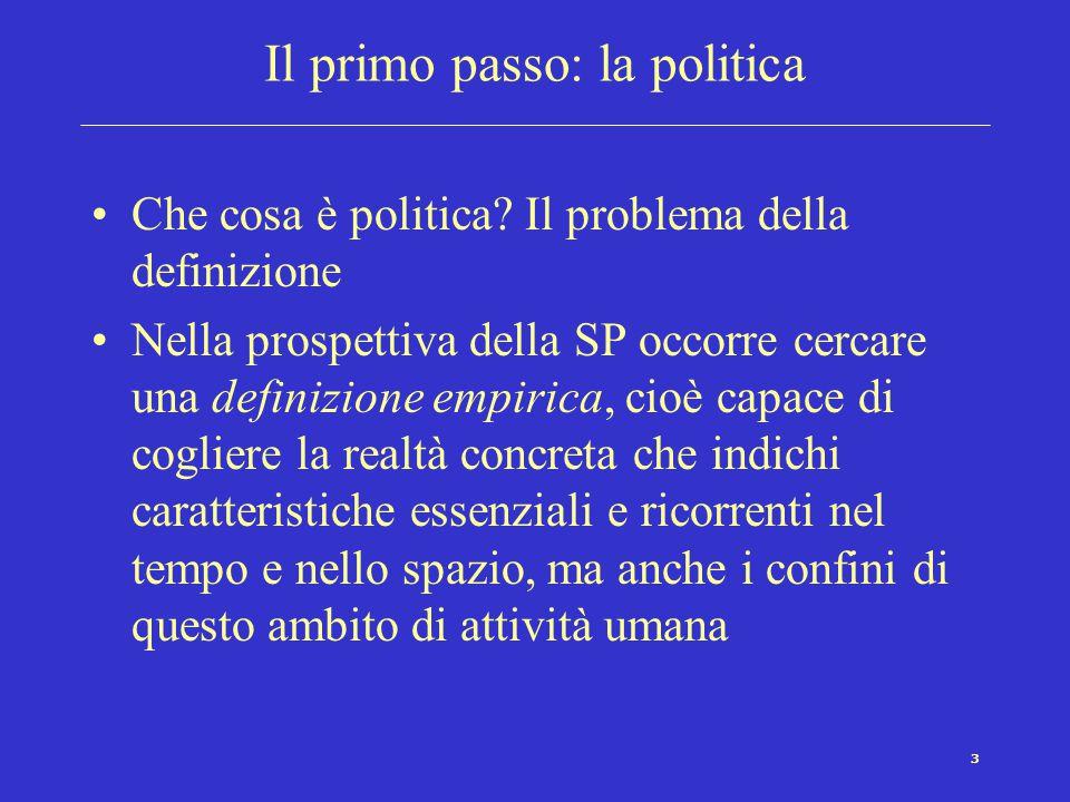 3 Il primo passo: la politica Che cosa è politica? Il problema della definizione Nella prospettiva della SP occorre cercare una definizione empirica,