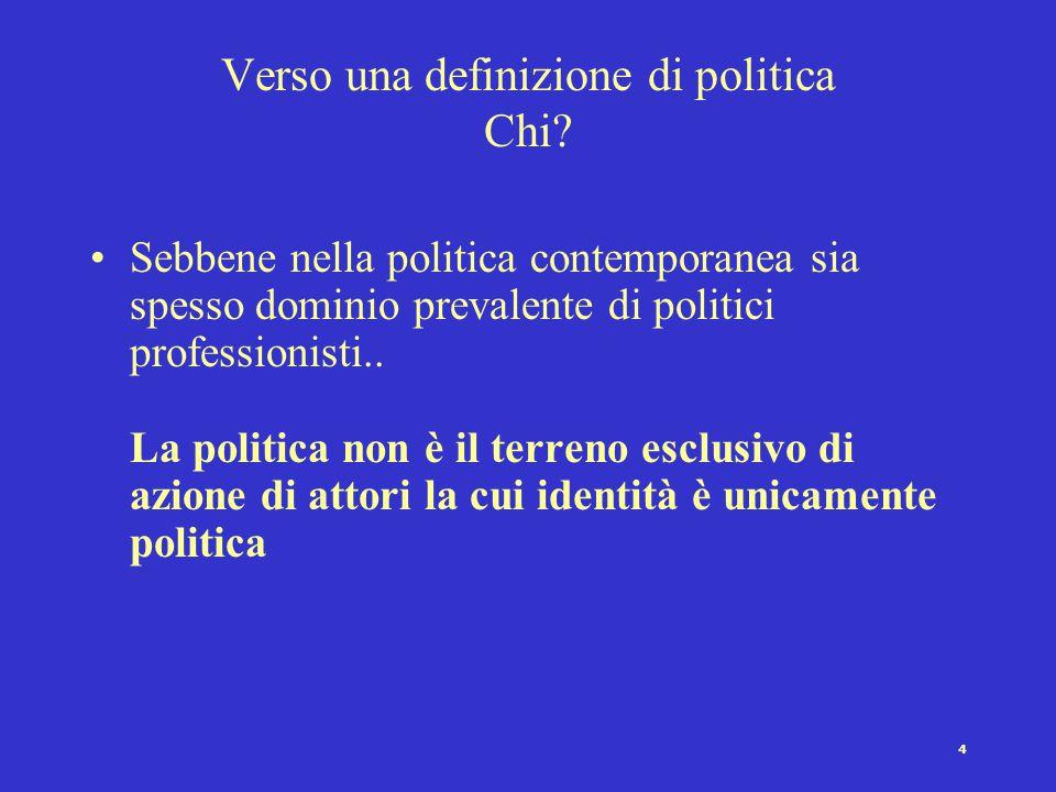 4 Verso una definizione di politica Chi? Sebbene nella politica contemporanea sia spesso dominio prevalente di politici professionisti.. La politica n
