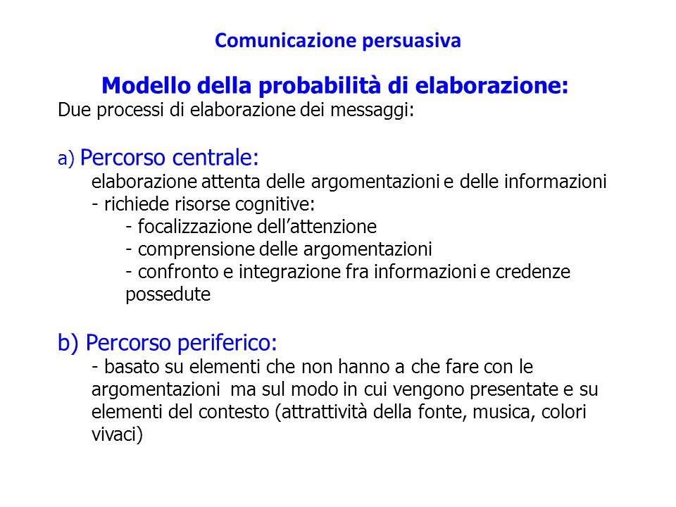 Comunicazione persuasiva Modello della probabilità di elaborazione: Due processi di elaborazione dei messaggi: a) Percorso centrale: elaborazione atte