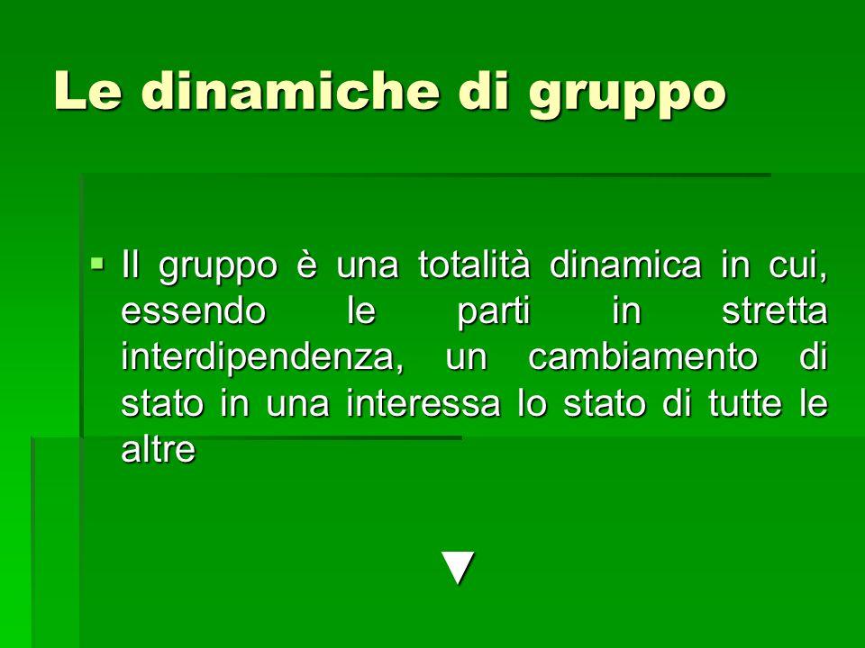 Le dinamiche di gruppo  Il gruppo è una totalità dinamica in cui, essendo le parti in stretta interdipendenza, un cambiamento di stato in una interessa lo stato di tutte le altre ▼