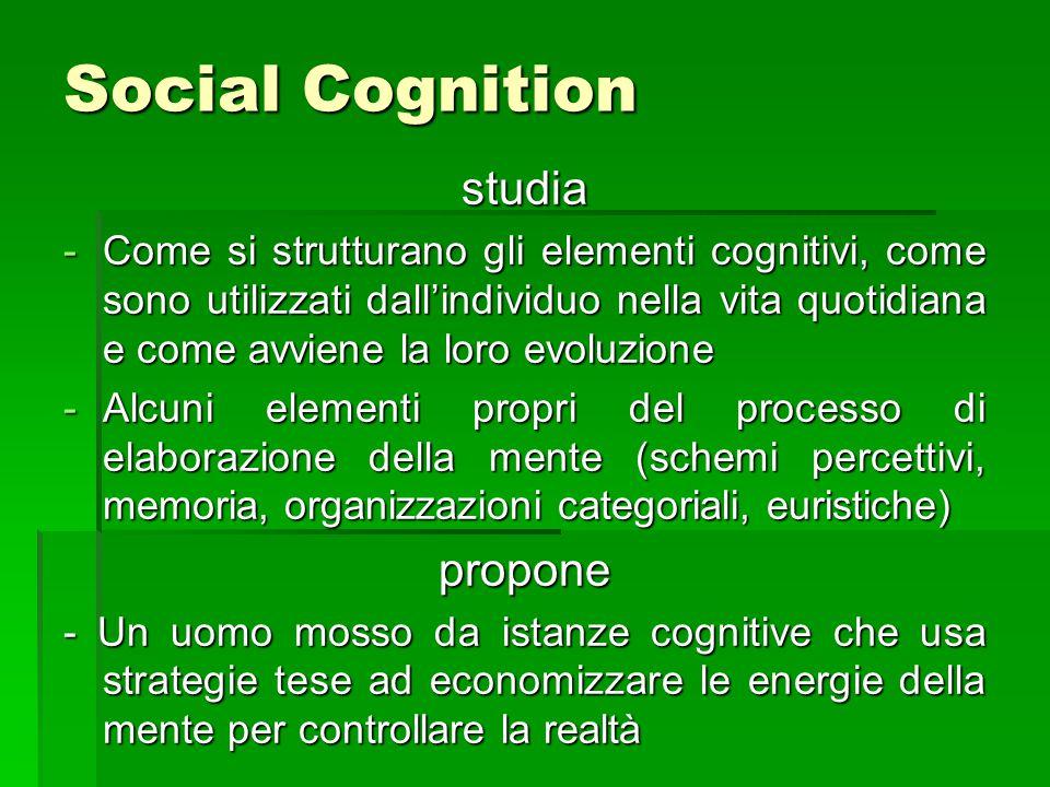 Social Cognition studia -Come si strutturano gli elementi cognitivi, come sono utilizzati dall'individuo nella vita quotidiana e come avviene la loro evoluzione -Alcuni elementi propri del processo di elaborazione della mente (schemi percettivi, memoria, organizzazioni categoriali, euristiche) propone - Un uomo mosso da istanze cognitive che usa strategie tese ad economizzare le energie della mente per controllare la realtà