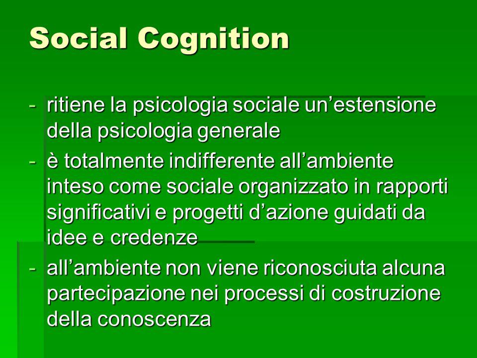 Social Cognition -ritiene la psicologia sociale un'estensione della psicologia generale -è totalmente indifferente all'ambiente inteso come sociale organizzato in rapporti significativi e progetti d'azione guidati da idee e credenze -all'ambiente non viene riconosciuta alcuna partecipazione nei processi di costruzione della conoscenza