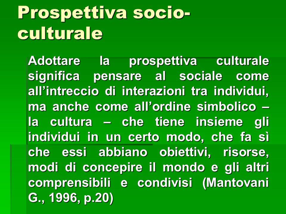 Prospettiva socio- culturale Adottare la prospettiva culturale significa pensare al sociale come all'intreccio di interazioni tra individui, ma anche come all'ordine simbolico – la cultura – che tiene insieme gli individui in un certo modo, che fa sì che essi abbiano obiettivi, risorse, modi di concepire il mondo e gli altri comprensibili e condivisi (Mantovani G., 1996, p.20)