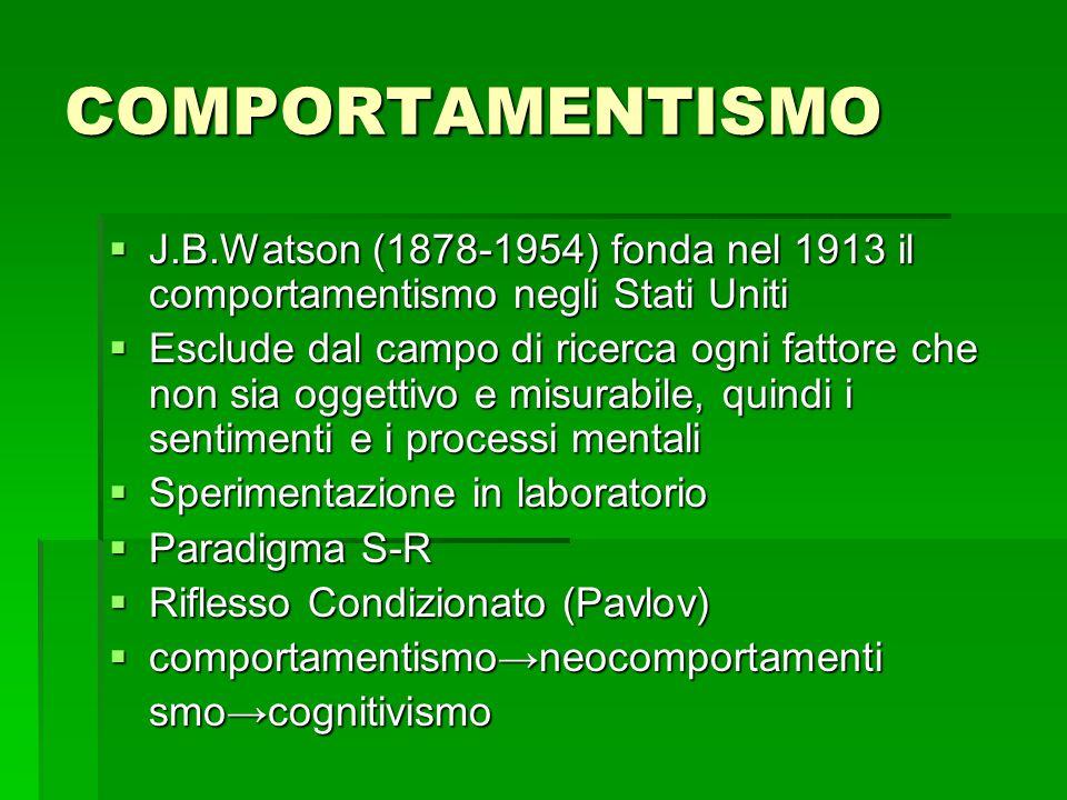 COMPORTAMENTISMO  J.B.Watson (1878-1954) fonda nel 1913 il comportamentismo negli Stati Uniti  Esclude dal campo di ricerca ogni fattore che non sia oggettivo e misurabile, quindi i sentimenti e i processi mentali  Sperimentazione in laboratorio  Paradigma S-R  Riflesso Condizionato (Pavlov)  comportamentismo→neocomportamenti smo→cognitivismo