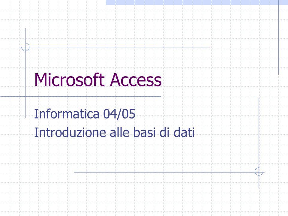 Microsoft Access Informatica 04/05 Introduzione alle basi di dati