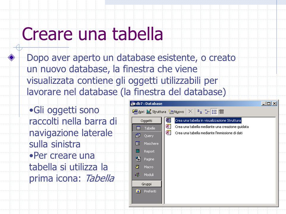 10 Creare una tabella Dopo aver aperto un database esistente, o creato un nuovo database, la finestra che viene visualizzata contiene gli oggetti utilizzabili per lavorare nel database (la finestra del database) Gli oggetti sono raccolti nella barra di navigazione laterale sulla sinistra Per creare una tabella si utilizza la prima icona: Tabella