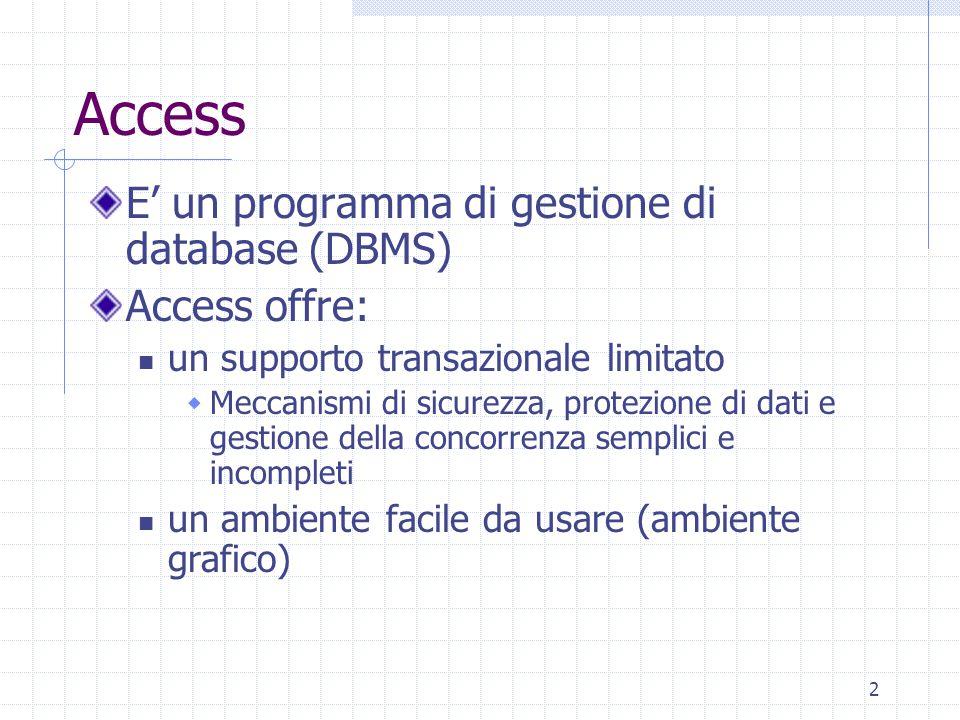2 Access E' un programma di gestione di database (DBMS) Access offre: un supporto transazionale limitato  Meccanismi di sicurezza, protezione di dati e gestione della concorrenza semplici e incompleti un ambiente facile da usare (ambiente grafico)