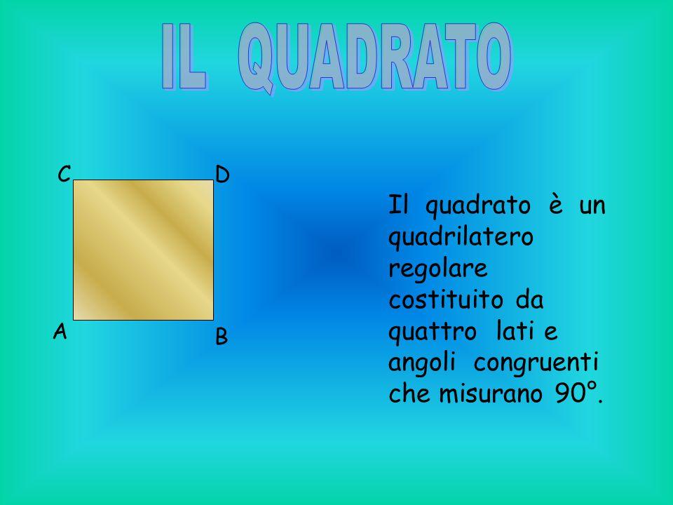 Il quadrato è un quadrilatero regolare costituito da quattro lati e angoli congruenti che misurano 90°. A B CD