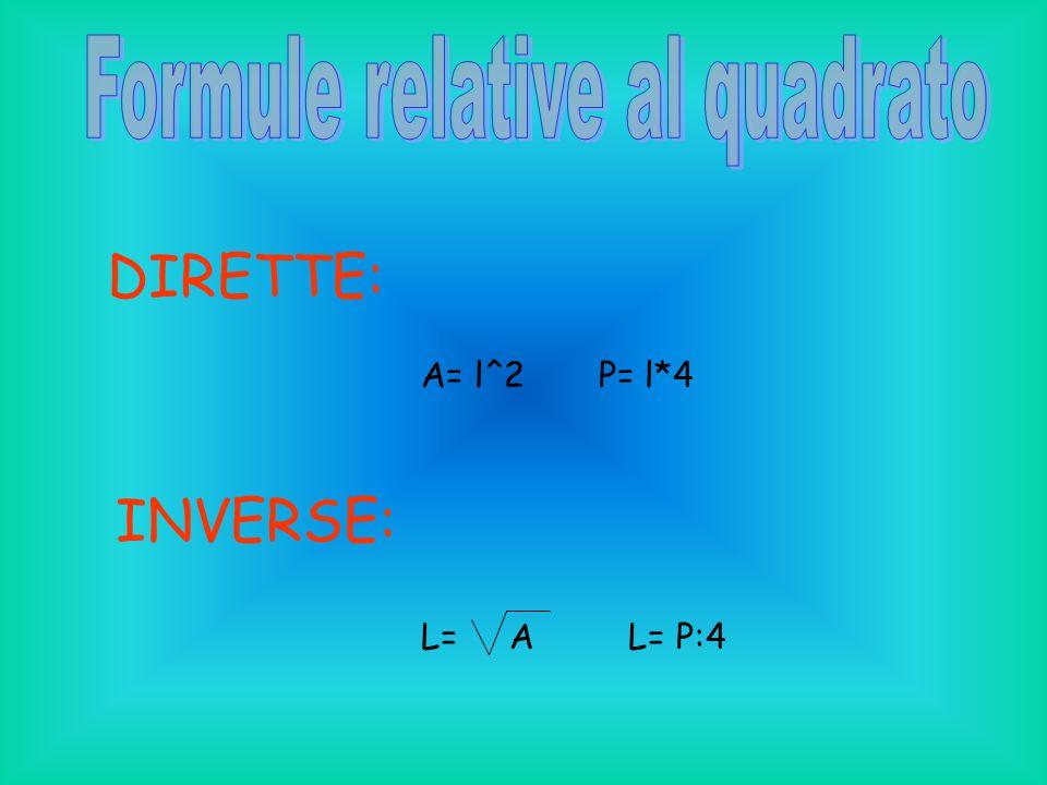 DIRETTE: A= l^2 P= l*4 INVERSE: L= A L= P:4
