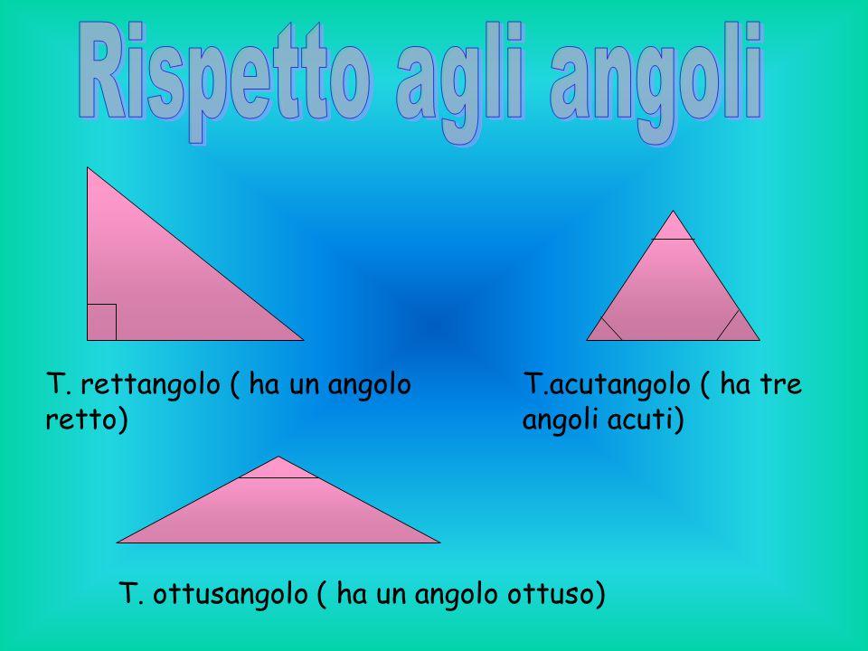 T. rettangolo ( ha un angolo retto) T. ottusangolo ( ha un angolo ottuso) T.acutangolo ( ha tre angoli acuti)