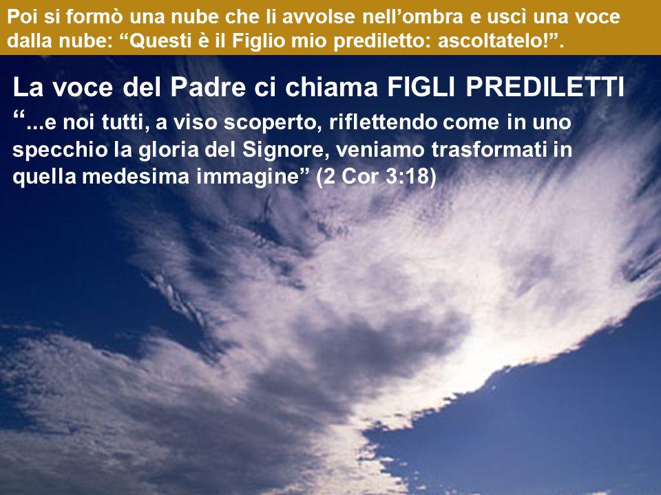 Poi si formò una nube che li avvolse nell'ombra e uscì una voce dalla nube: Questi è il Figlio mio prediletto: ascoltatelo! .