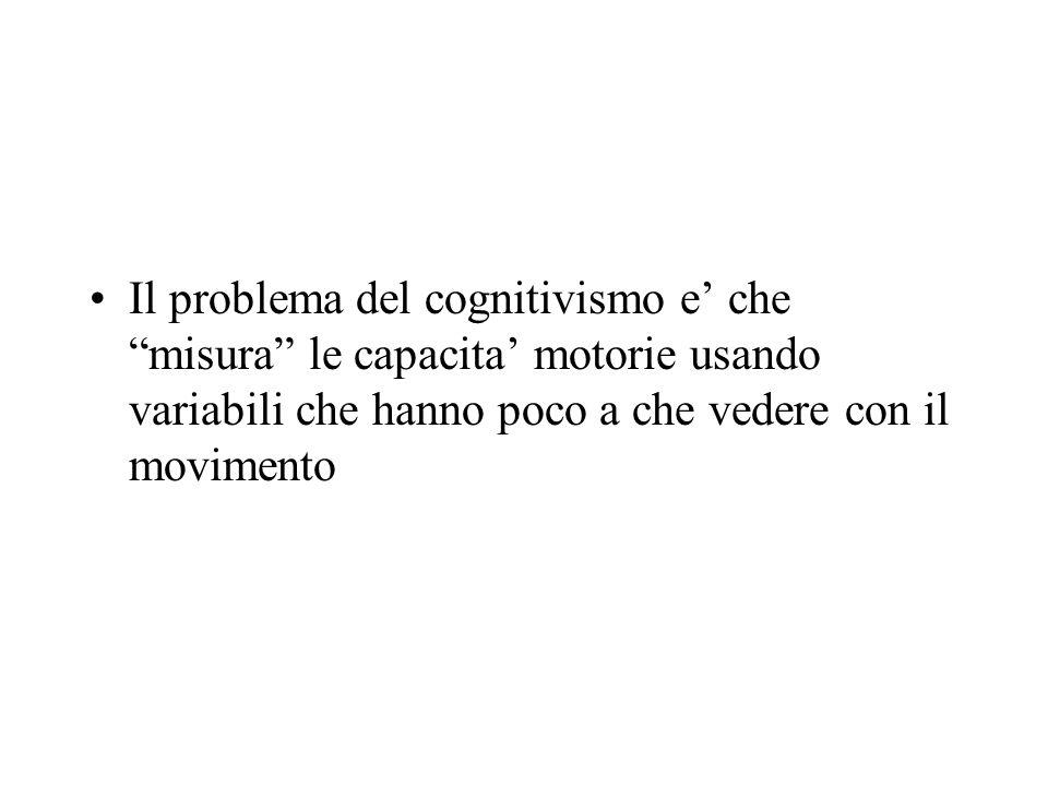 Il problema del cognitivismo e' che misura le capacita' motorie usando variabili che hanno poco a che vedere con il movimento