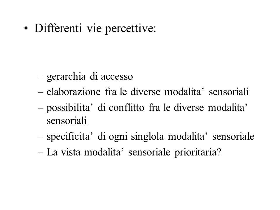 Differenti vie percettive: –gerarchia di accesso –elaborazione fra le diverse modalita' sensoriali –possibilita' di conflitto fra le diverse modalita' sensoriali –specificita' di ogni singlola modalita' sensoriale –La vista modalita' sensoriale prioritaria?