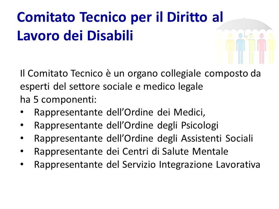 Comitato Tecnico per il Diritto al Lavoro dei Disabili Il Comitato Tecnico è un organo collegiale composto da esperti del settore sociale e medico leg