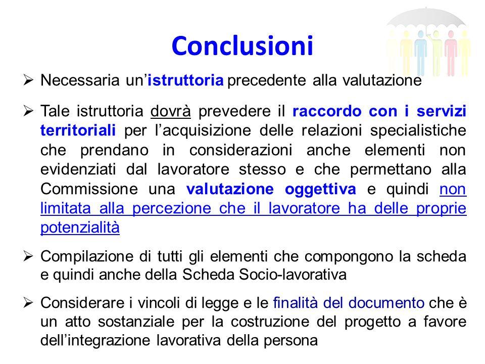 Conclusioni  Necessaria un'istruttoria precedente alla valutazione  Tale istruttoria dovrà prevedere il raccordo con i servizi territoriali per l'ac