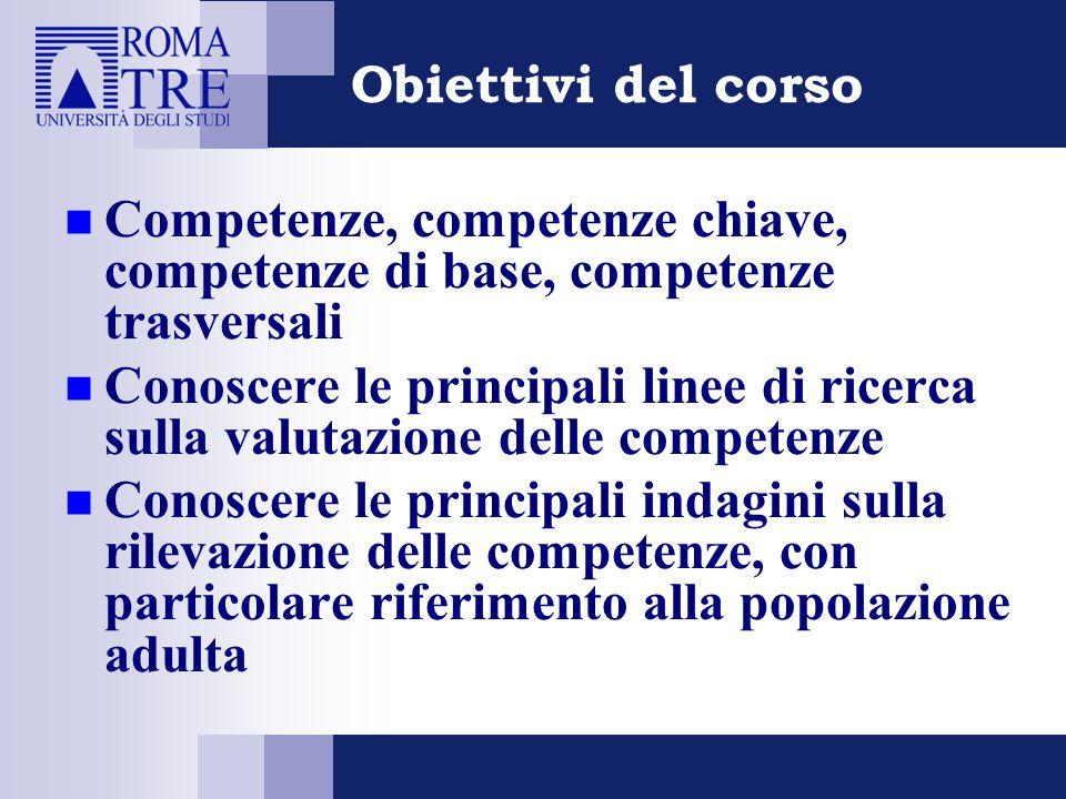 Obiettivi del corso Competenze, competenze chiave, competenze di base, competenze trasversali Conoscere le principali linee di ricerca sulla valutazio