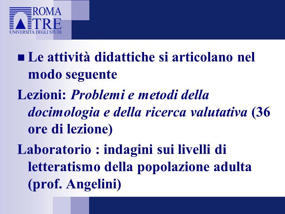 Le attività didattiche si articolano nel modo seguente Lezioni: Problemi e metodi della docimologia e della ricerca valutativa (36 ore di lezione) Lab