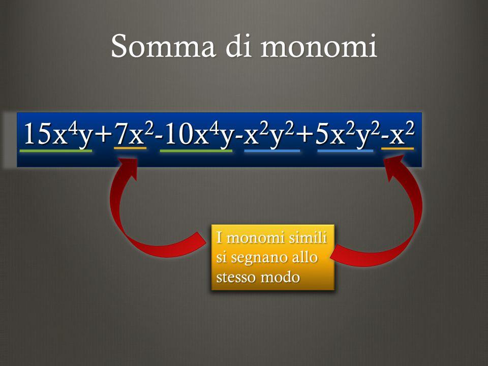 Somma di monomi 15x 4 y+7x 2 -10x 4 y-x 2 y 2 +5x 2 y 2 -x 2