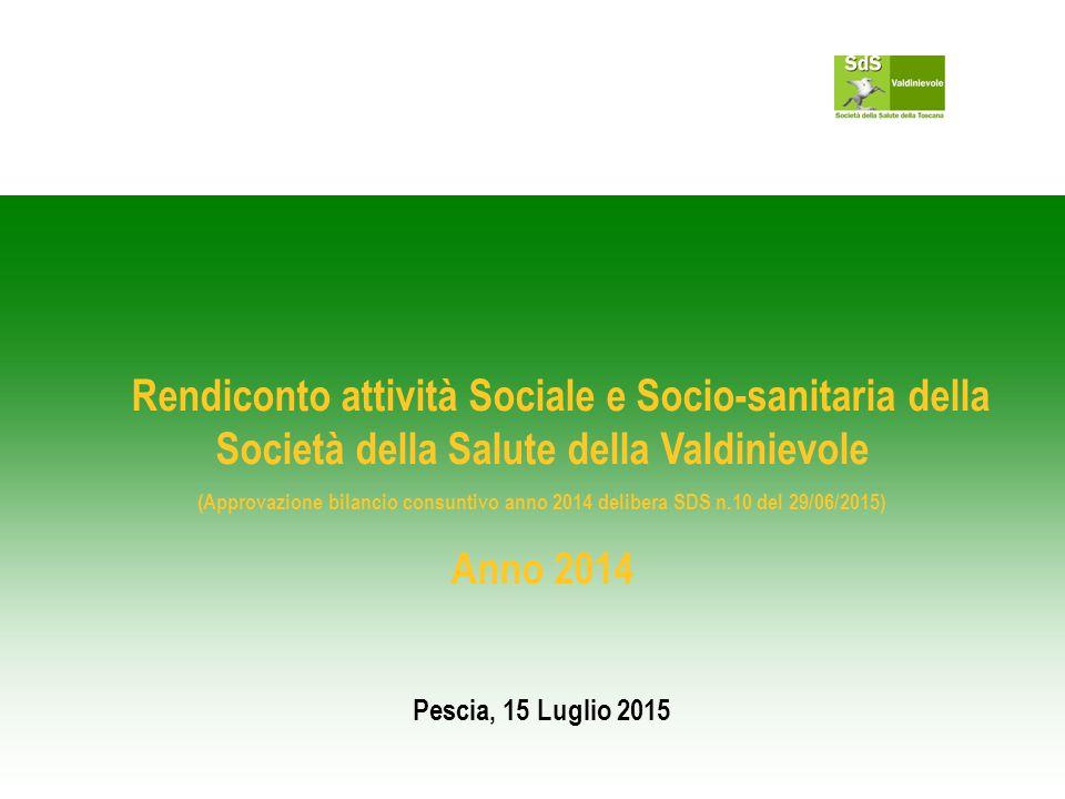 Rendiconto attività Sociale e Socio-sanitaria della Società della Salute della Valdinievole (Approvazione bilancio consuntivo anno 2014 delibera SDS n.10 del 29/06/2015) Anno 2014 Pescia, 15 Luglio 2015