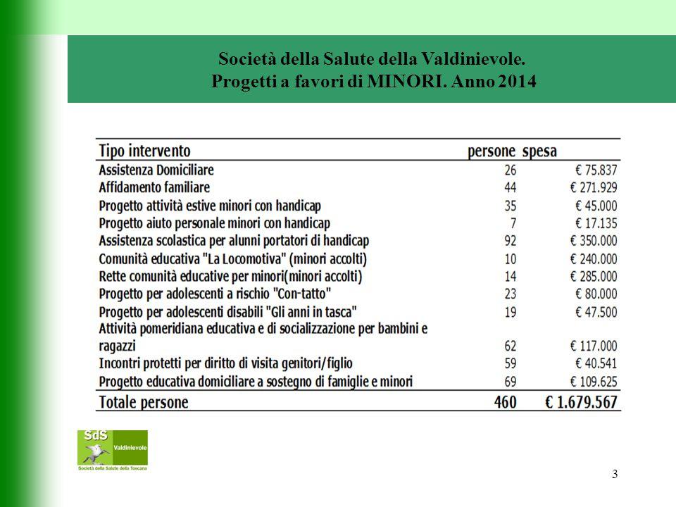 3 Società della Salute della Valdinievole. Progetti a favori di MINORI. Anno 2014