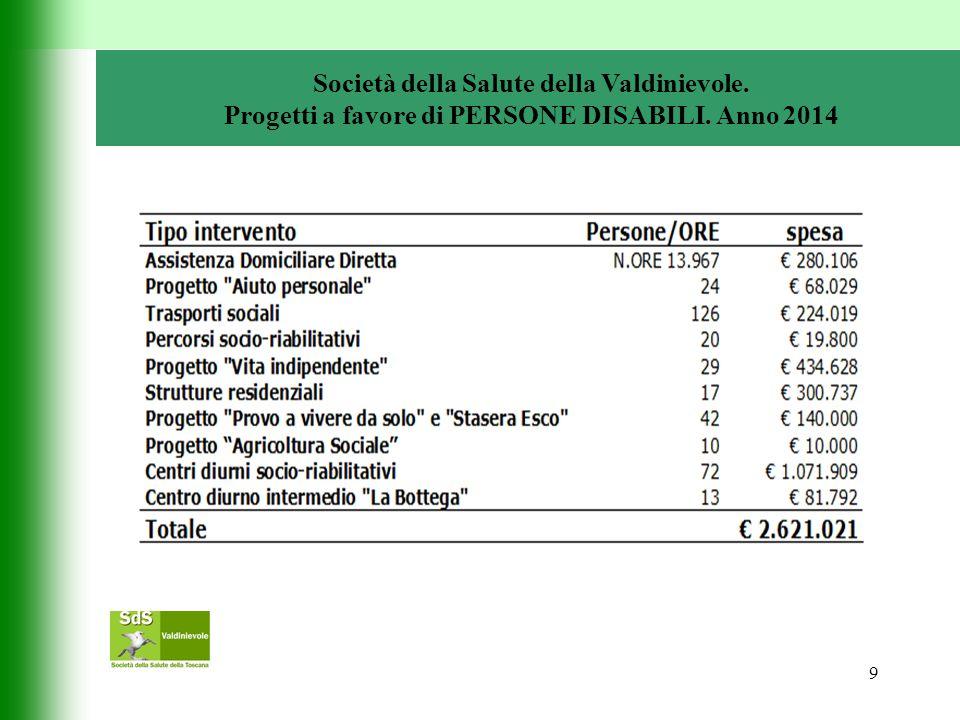 9 Società della Salute della Valdinievole. Progetti a favore di PERSONE DISABILI. Anno 2014