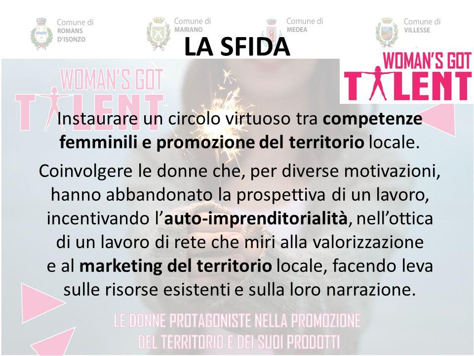 LA SFIDA Instaurare un circolo virtuoso tra competenze femminili e promozione del territorio locale.