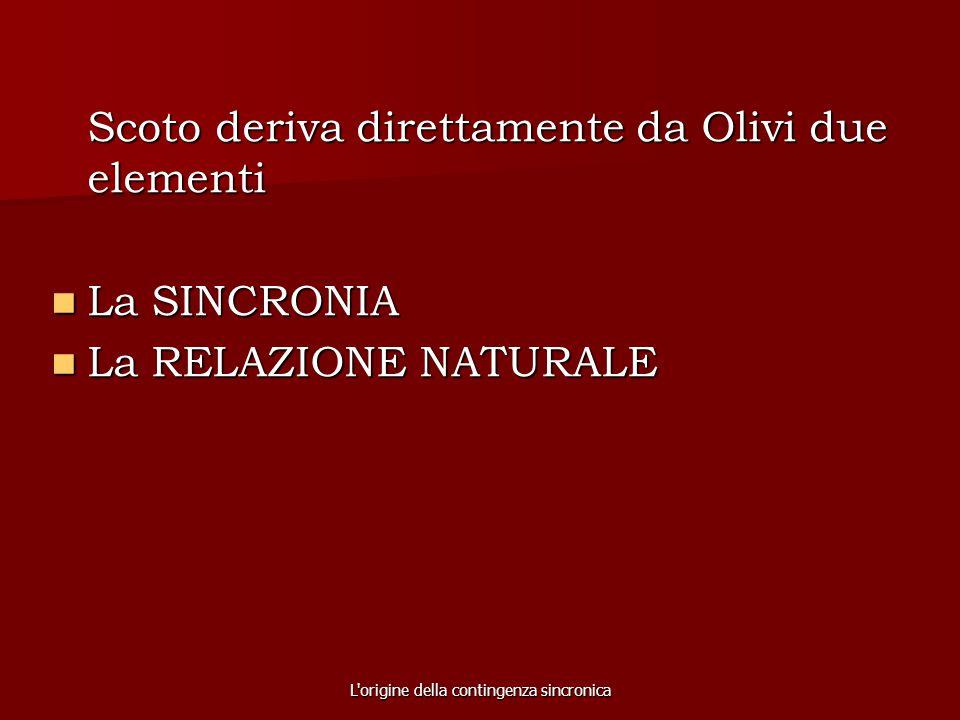 L'origine della contingenza sincronica Scoto deriva direttamente da Olivi due elementi La SINCRONIA La SINCRONIA La RELAZIONE NATURALE La RELAZIONE NA