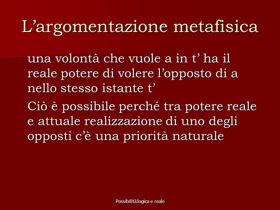 Possibilità logica e reale L'argomentazione metafisica una volontà che vuole a in t' ha il reale potere di volere l'opposto di a nello stesso istante