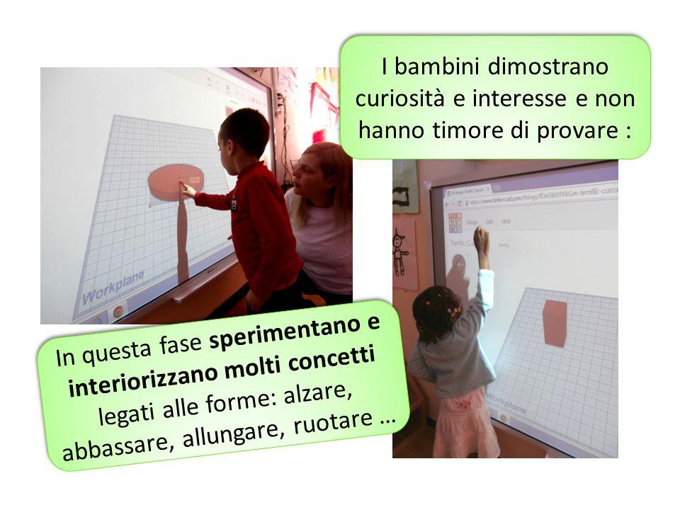 I bambini dimostrano curiosità e interesse e non hanno timore di provare : In questa fase sperimentano e interiorizzano molti concetti legati alle for