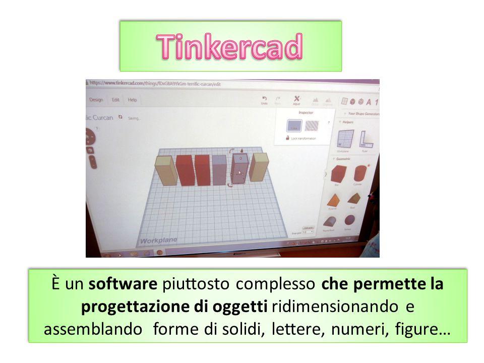 È un software piuttosto complesso che permette la progettazione di oggetti ridimensionando e assemblando forme di solidi, lettere, numeri, figure…