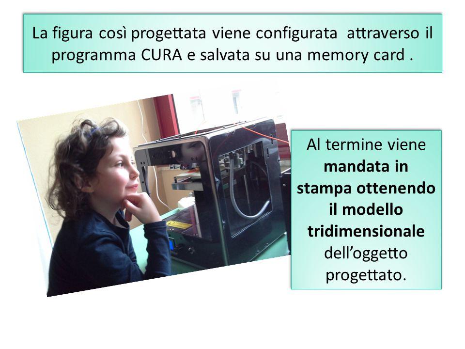La figura così progettata viene configurata attraverso il programma CURA e salvata su una memory card. Al termine viene mandata in stampa ottenendo il