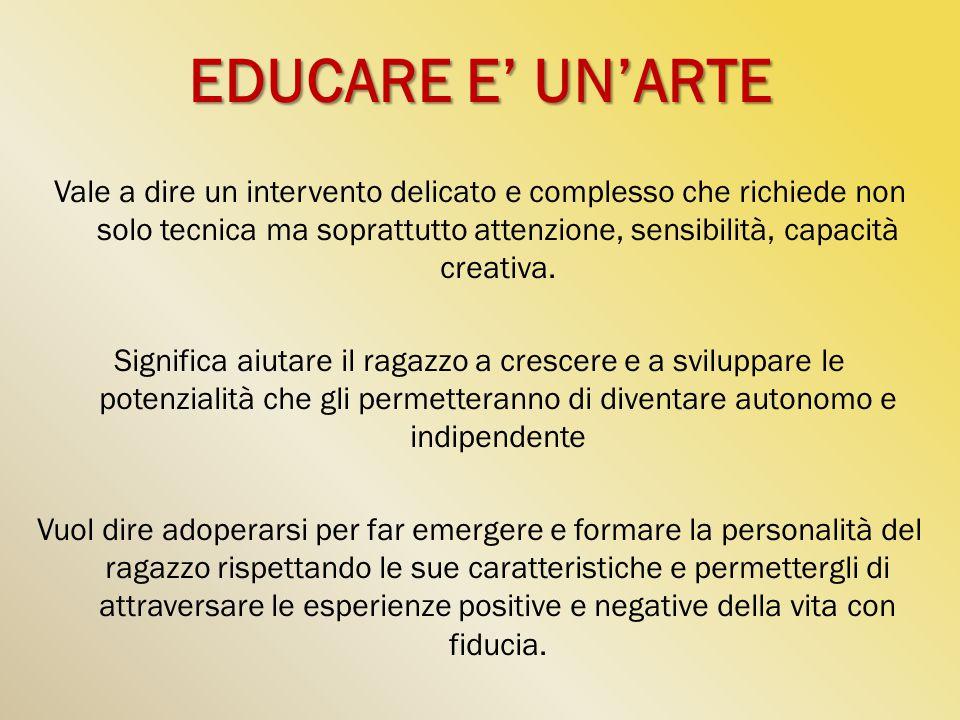 EDUCARE E' UN'ARTE Vale a dire un intervento delicato e complesso che richiede non solo tecnica ma soprattutto attenzione, sensibilità, capacità creat