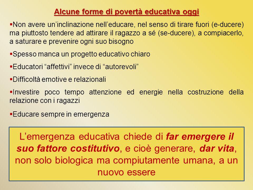 Alcune forme di povertà educativa oggi  Non avere un'inclinazione nell'educare, nel senso di tirare fuori (e-ducere) ma piuttosto tendere ad attirare