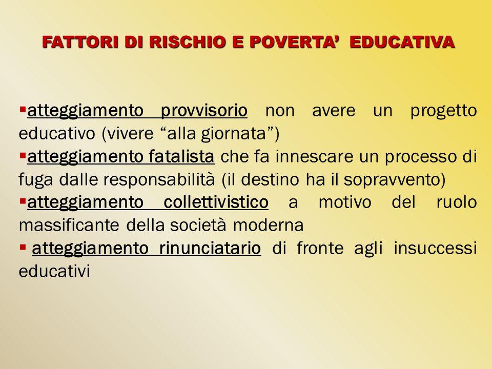 """FATTORI DI RISCHIO E POVERTA' EDUCATIVA  atteggiamento provvisorio non avere un progetto educativo (vivere """"alla giornata"""")  atteggiamento fatalista"""