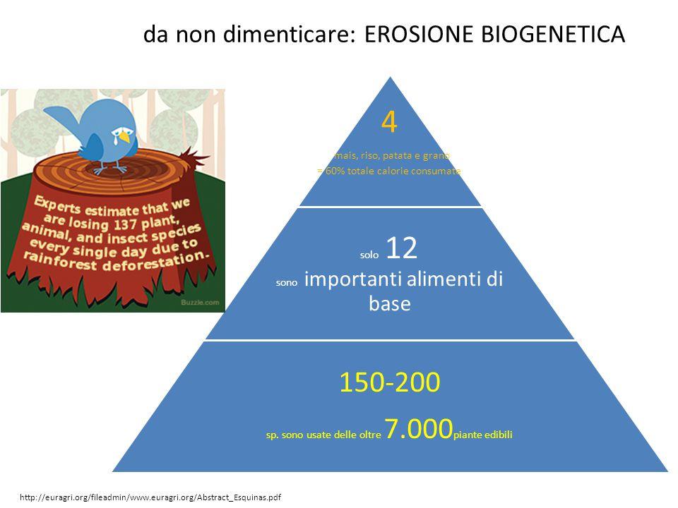 4 mais, riso, patata e grano = 60% totale calorie consumate solo 12 sono importanti alimenti di base 150-200 sp. sono usate delle oltre 7.000 piante e