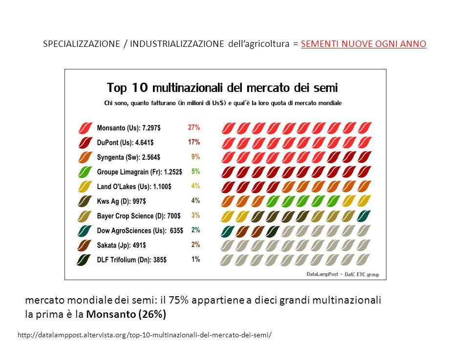SPECIALIZZAZIONE / INDUSTRIALIZZAZIONE dell'agricoltura = SEMENTI NUOVE OGNI ANNO http://datalamppost.altervista.org/top-10-multinazionali-del-mercato-dei-semi/ mercato mondiale dei semi: il 75% appartiene a dieci grandi multinazionali la prima è la Monsanto (26%)