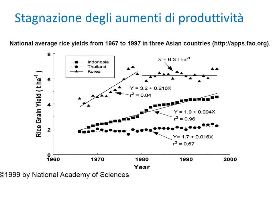 Stagnazione degli aumenti di produttività