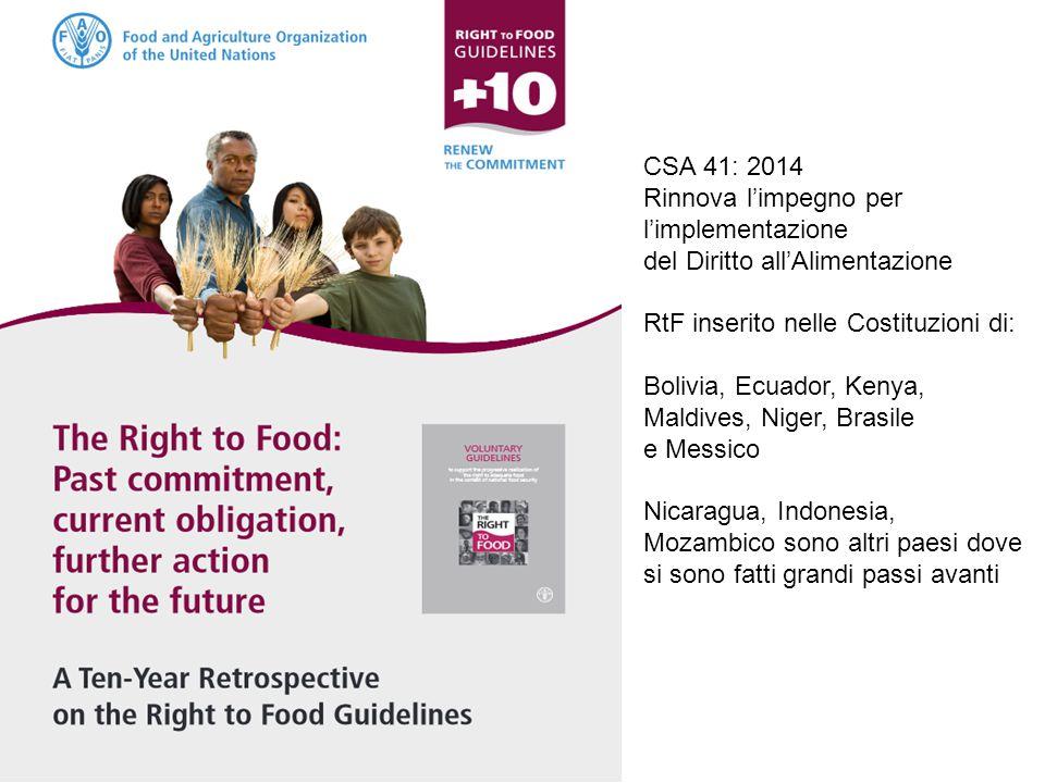 CSA 41: 2014 Rinnova l'impegno per l'implementazione del Diritto all'Alimentazione RtF inserito nelle Costituzioni di: Bolivia, Ecuador, Kenya, Maldiv