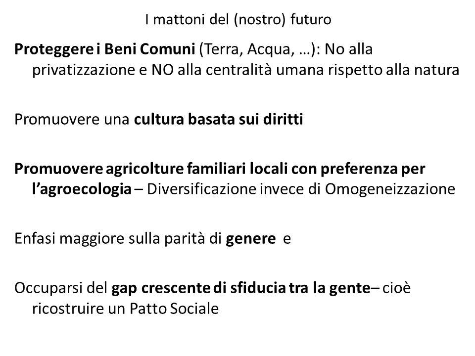 I mattoni del (nostro) futuro Proteggere i Beni Comuni (Terra, Acqua, …): No alla privatizzazione e NO alla centralità umana rispetto alla natura Prom