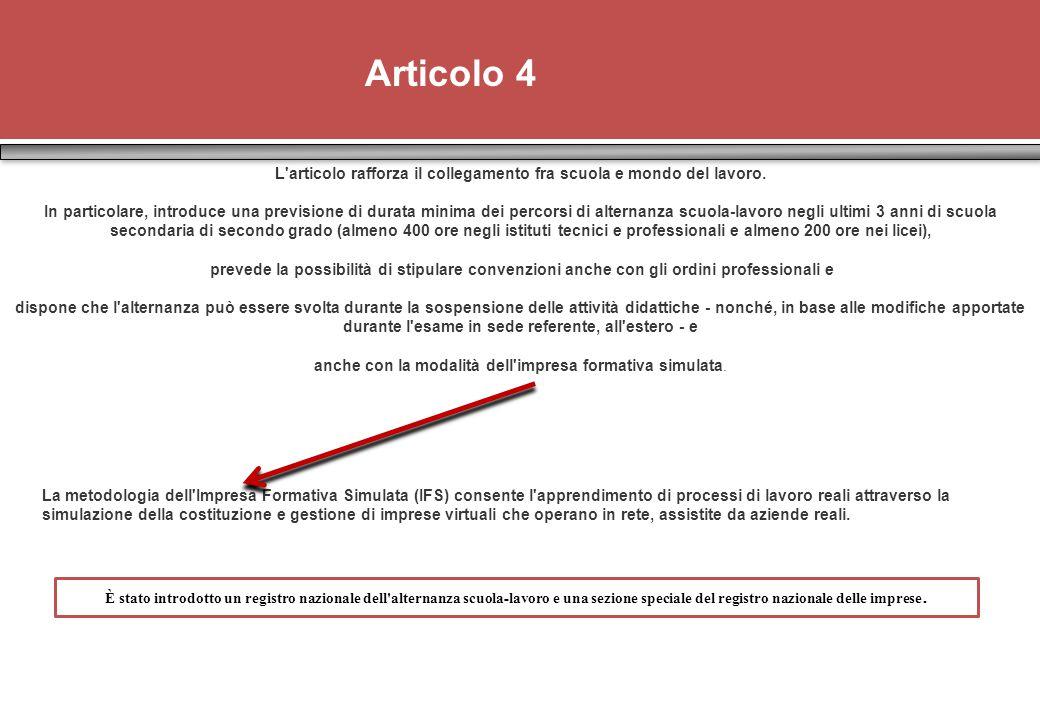 Articolo 4 L articolo rafforza il collegamento fra scuola e mondo del lavoro.