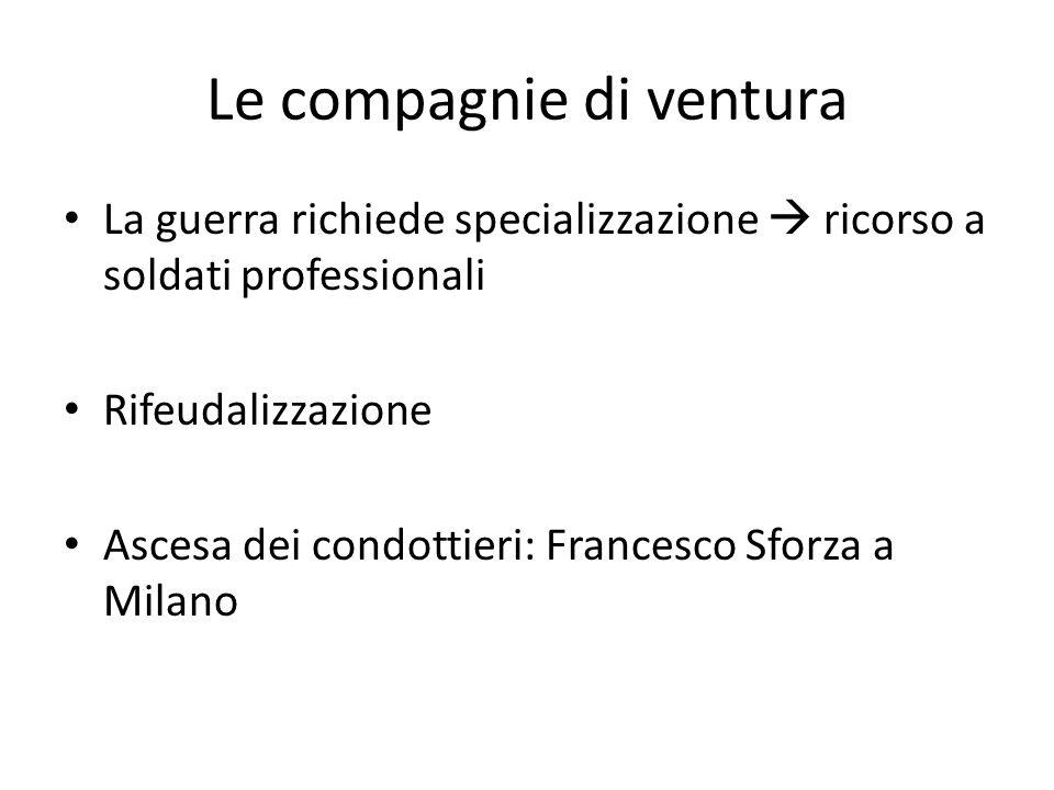 Le compagnie di ventura La guerra richiede specializzazione  ricorso a soldati professionali Rifeudalizzazione Ascesa dei condottieri: Francesco Sfor