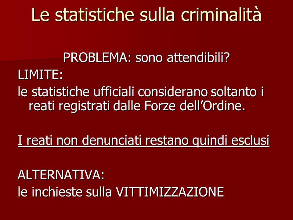 Le statistiche sulla criminalità PROBLEMA: sono attendibili? LIMITE: le statistiche ufficiali considerano soltanto i reati registrati dalle Forze dell