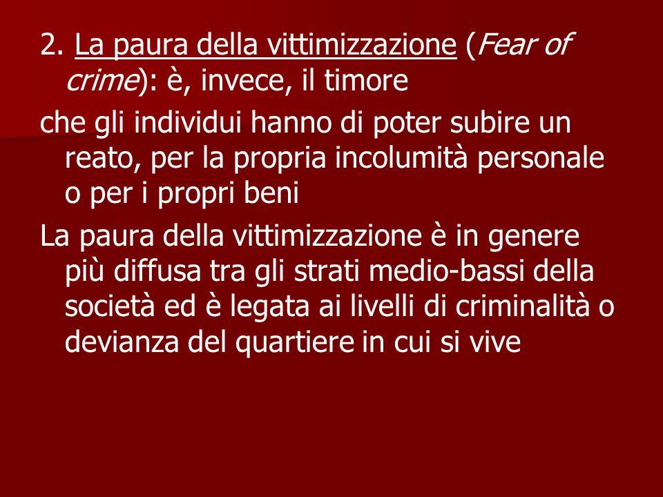 2. La paura della vittimizzazione (Fear of crime): è, invece, il timore che gli individui hanno di poter subire un reato, per la propria incolumità pe