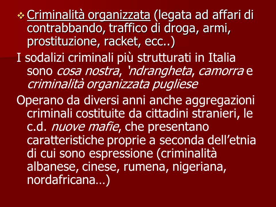  Criminalità organizzata (legata ad affari di contrabbando, traffico di droga, armi, prostituzione, racket, ecc..) I sodalizi criminali più struttura