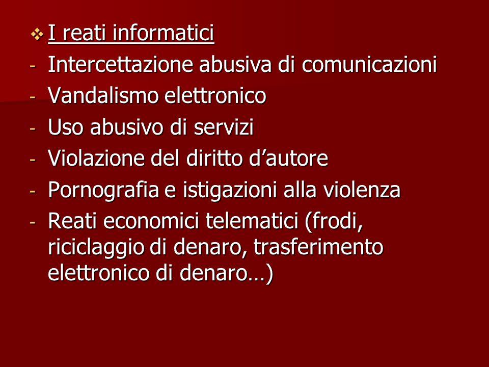  I reati informatici - Intercettazione abusiva di comunicazioni - Vandalismo elettronico - Uso abusivo di servizi - Violazione del diritto d'autore -