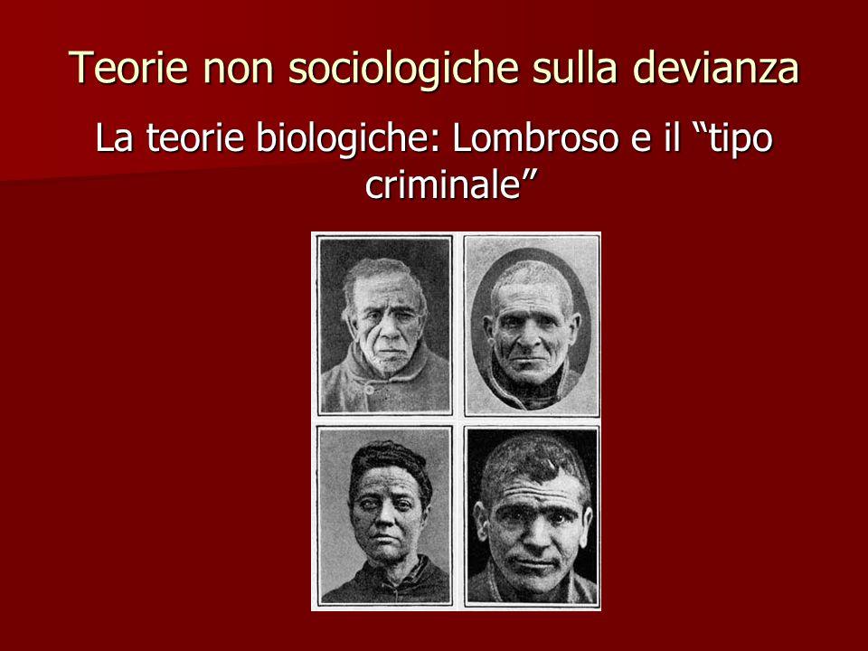 """Teorie non sociologiche sulla devianza La teorie biologiche: Lombroso e il """"tipo criminale"""""""