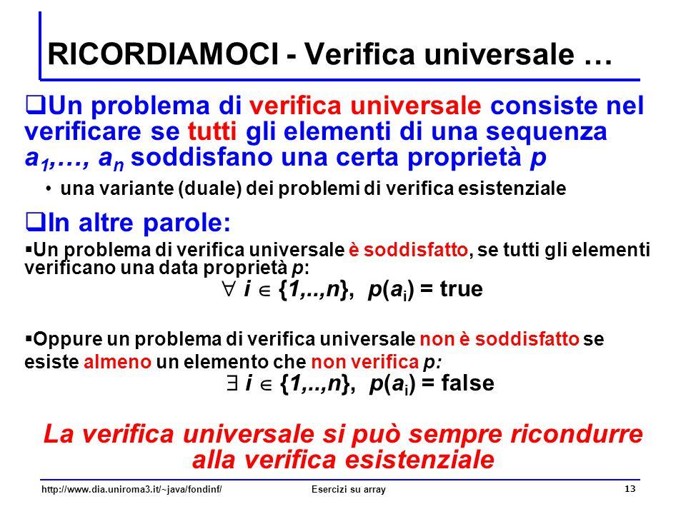 13 http://www.dia.uniroma3.it/~java/fondinf/Esercizi su array RICORDIAMOCI - Verifica universale …  Un problema di verifica universale consiste nel v